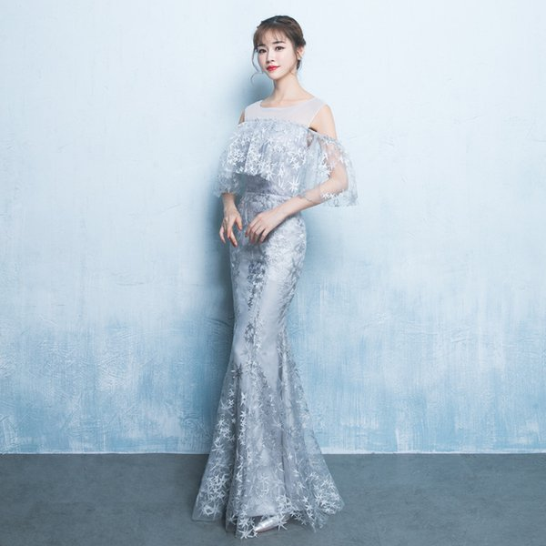 Mingli Tengda 2018 New Mermaid Tulle Evening Dresses Elegant Sexy O Neck Prom Dresses Long Formal Banquet Dinner Dress robe de soiree
