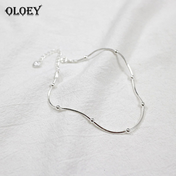 OLOEY Real 925 Sterling Silver Anklet For Women Simple Snake Chain Beaded Ankle Bracelet Fine Jewelry Gifts Drop Shipping YMA001 C18110801