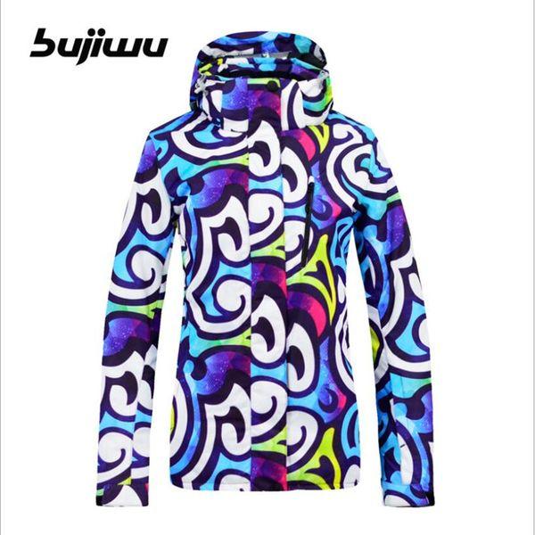 Bujiwu Women Ski Jacket Snowboard Jacket Super Warm Clothing Outdoor Sport Wear Female Windproof Waterproof Breathable Coat New