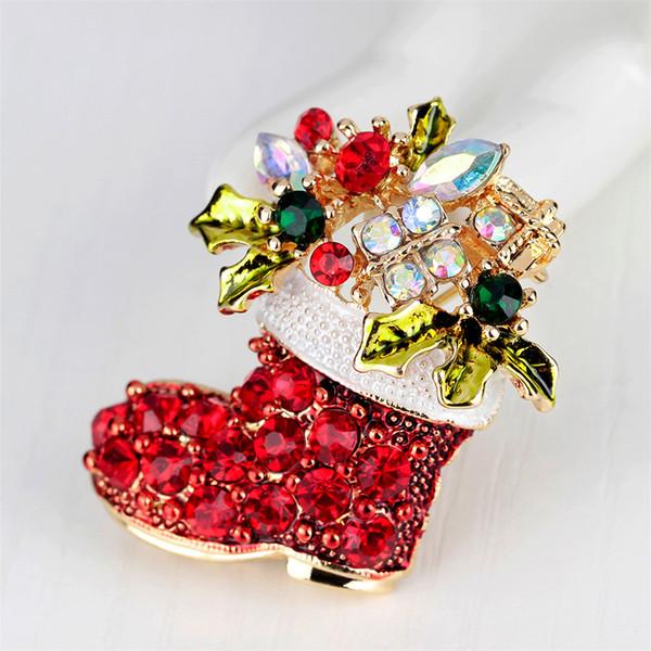 Nette zierliche rote schuhe broschen vintage weibliche rote stiefel broschen zink-legierung strass brosche geschenk weihnachten bögen
