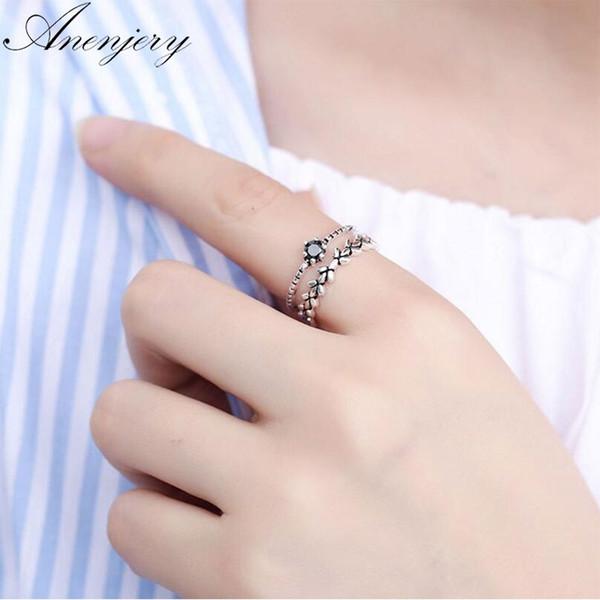 Anenjery Kreative 925 Sterling Silber Ringe Für Frauen Obsidian Blatt Doppelschicht Thai Silber Eröffnung Zeigefinger Ring S-R269