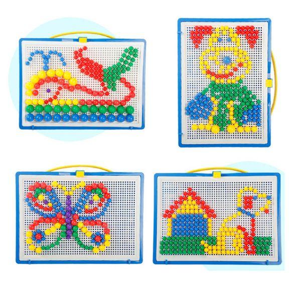 296pcs Mosaic Picture Puzzle Toy Children Composite Intellectual Educational Mushroom Nail Kit Toys For Kids With Retail Box