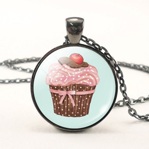 8 Styles Cute Cake Cupcake Glass Dome Pendant Black Chain Necklace Woman Cabochon Gems Jewelry Birthday Gift Kids