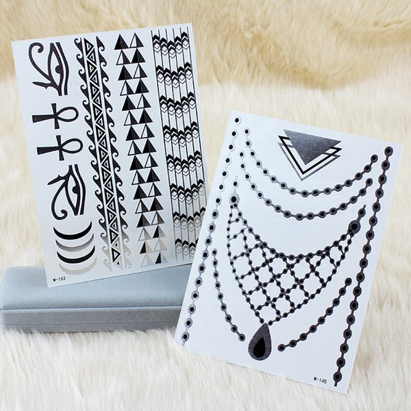 2017 Hot Sale 2x OPHIR Silver Flash Tattoos Temporary Gold Tattoo Stickers Beauty Body Art Decoration #MT021S+MT022S