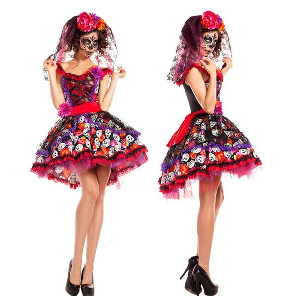 2019 Women Halloween Sexy Creative Skull Ghost Corpse Bride Costume  Skeleton Day Of The Dead Costume Cosplay Flower Fairy Fancy Dress From  Lemon888,