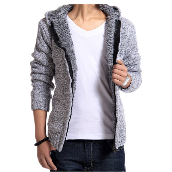 2015 Hot Sale Fashion mens sweaters velvet warm hooded cardigan thicken sweater men imported clothing