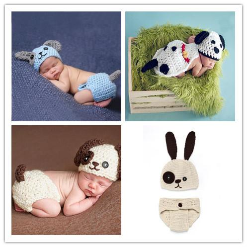 Cute Puppy Dog Newborn Baby Boys Photography Props Knitted Infant Animal Costume Boys Outfits Crochet Baby Hat Diaper Set