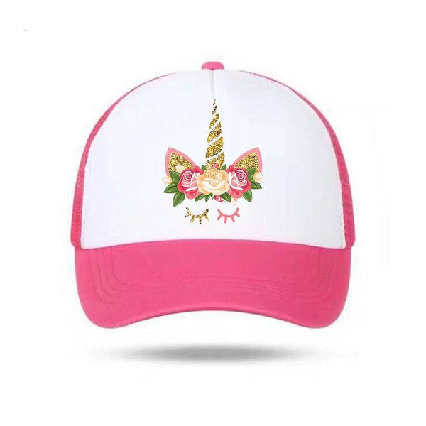Sequin Unicorn Sport Cap Mesh Glitter Women Men Snapback Cap 3D Flower Print Baseball for Boys Girls Customized Hip Hop Caps