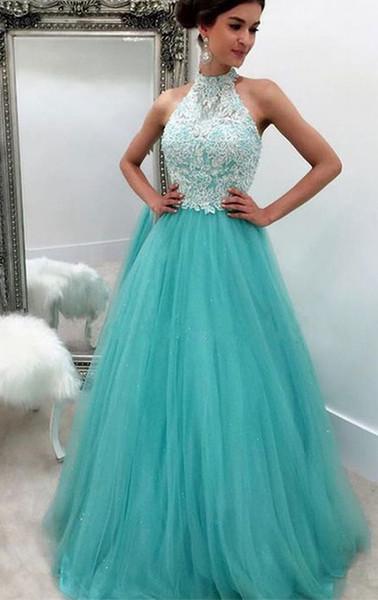 Vestidos de noche formales Cielo azul de encaje de tul de cuello alto Vestido de novia de moda para mujer Ocasión especial Vestido de fiesta de dama de honor