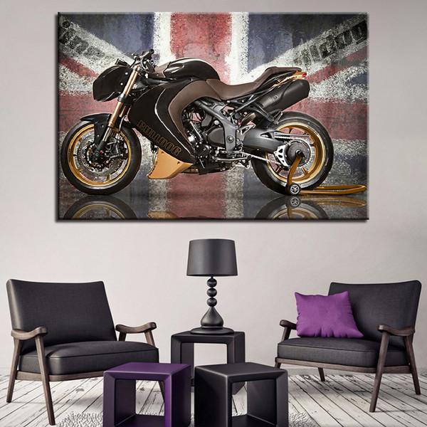 Lienzo HD Imprime Fotos Decoración para el hogar 1 Unidades / Unids Motocicleta Pintura Pintura Bandera Vintage Poster Para la Sala de Arte de La Pared Marco