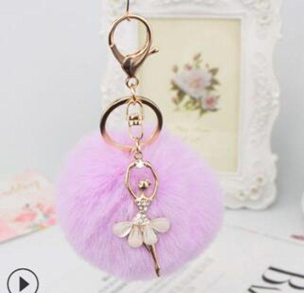 Women Fur Ball Rhinestone Ballerina Keychain Ballet Dancing Girl Handbag Accessories Car Key Chain For Bag nt