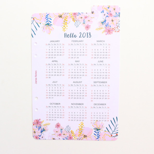 Sluh Calendar.2019 Domikee Creative Cute Cartoon 2018 Year Calendar Index Paper Divider For 6 Holes Diary Binder Weekly Planner Notebooks A5 A6 From Newcute 34 28