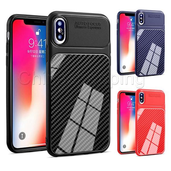 Coque souple en TPU Etui en silicone anti-dérapant en fibre de carbone pour iPhone X Xr Xs Max 8 7 6S Plus Samsung Note 9 8 S8 S9 Plus J4 J6 Plus
