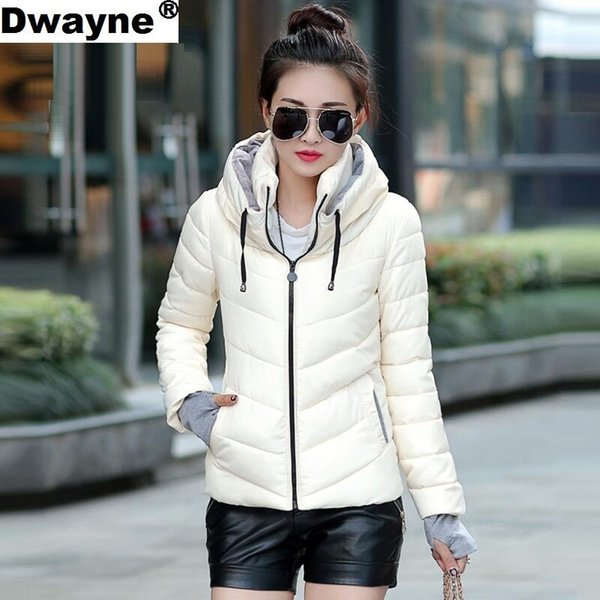 2018 Winter Jacket women Plus Size Womens Parkas Thicken Outerwear solid hooded Coats Short Female Slim Cotton padded basic topsY1882501