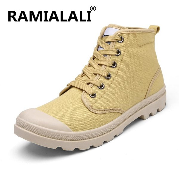 Ramialali Brand British Style Retro Classic Men 's Boots Canvas Martin Boots High Top Lace Up Motorcycle Casual Men Shoes
