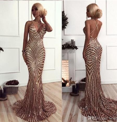 xxxvfMermaid Rose Gold Sequins Prom Dresses 2018 African Luxury V Neck Sweep Train Backless Prom Dresses Evening Wear