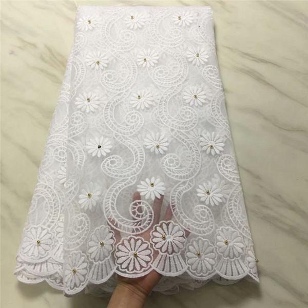 белые кружева африканские кружева ткань нигерийский французский тюль ткань 2019 года высокого качества африканских кружевной бисер
