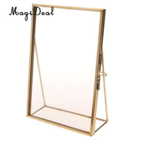MagiDeal Antique Brass Glass Picture Photo Frame Retrato Stand gratuito 3.5 x 5 pulgadas-Gran regalo de calidad para amigos de la boda