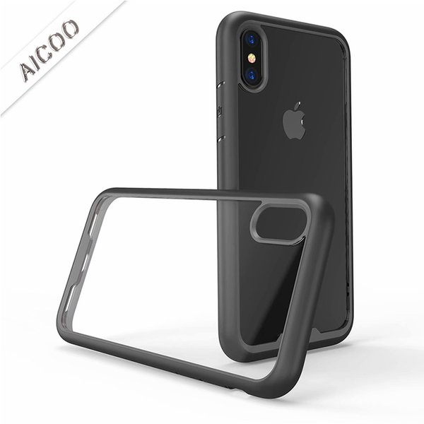 Hybrid Armor Case Double Color TPU Transparent PC Dropproof Back Cover for iPhone XS MAX XR X 8 7 6 Plus Samsung S8 OPP Aicoo