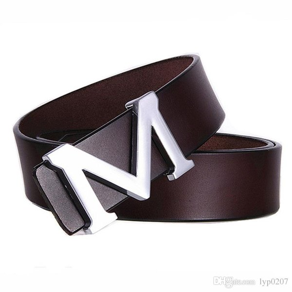 2017 hot sale New Imported Italian Cow Leather Belt for Men Classic Genuine Leather Strap M Letter Silver Buckle Men Belts free shipping