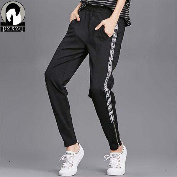 Zipper Cuff Design Elastic Waist Pants Joggers Women Letter Stripe Harem Camo Pants Streetwear Punk Black Cargo Pants Trousers C18111201