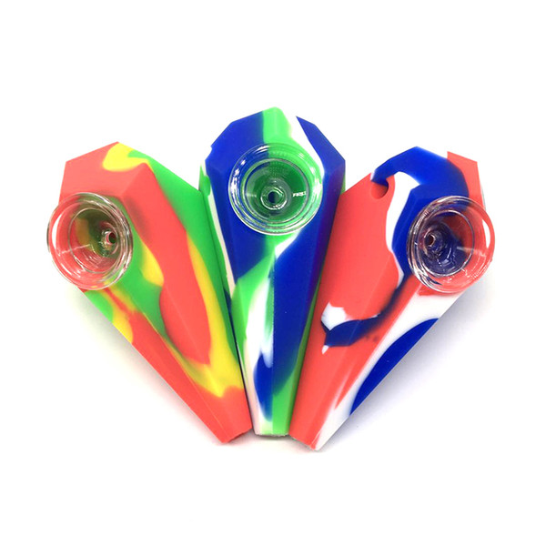 Diamond shape silicone small hand pipe smoking with glass bowl rubber smoking pipe food grade A