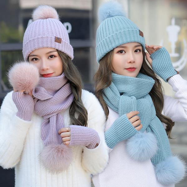 Sombrero de tejer bufanda con tres bolas de piel sintética pom 2 piezas set mujeres beanie invierno 2018 moda envío gratis estudiante rosa
