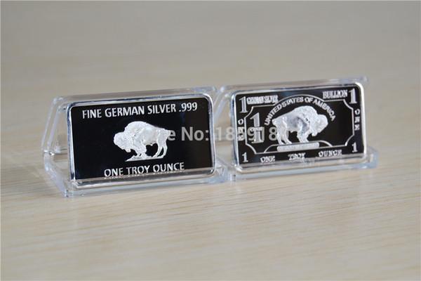 top popular Free shipping wholesale 10pcs lot 1 Troy Ounce German Buffalo silver Bullion Bar coins, German Sliver .999 American Buffalo bar 2019