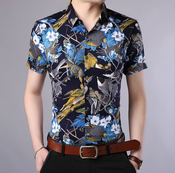 Floral Shirt Male Clothing Two Colors Fashion High Quality Beach Hawaii Vacation Wear Summer New Casual Shirts