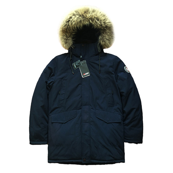 Großhandel 2018 Hohe Qualität Männer Wintermantel Parka Alaska Dick Gepolsterte Mantel Jacke Fell Kapuze Lange Warme Herren Winter Parkas Russische
