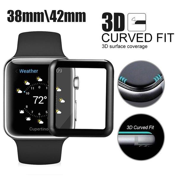 Screen Protector For Iwatch 4 3D Curved Full Cover Watch Tempered Glass Edge To Edge Protection For Apple Watch Series 3/2/1 In Box