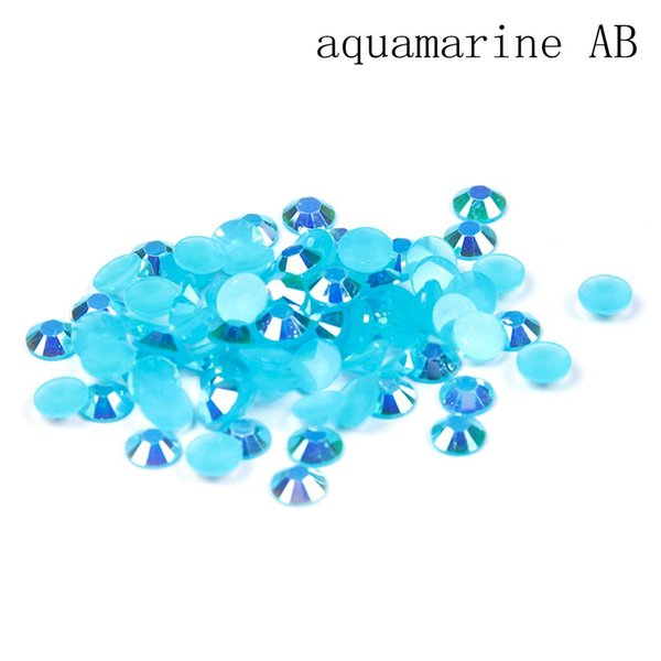 AB 2-6mm Aquamarine résine strass bricolage ongles Art Décoration Flatback ronde Facettes colle sur des perles pour la fabrication de bijoux