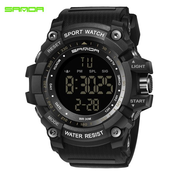SANDA Watch Men 359 Climbing Sports Wristwatches Big Dial Military Watches Alarm Shock Resistant Waterproof Watches saat
