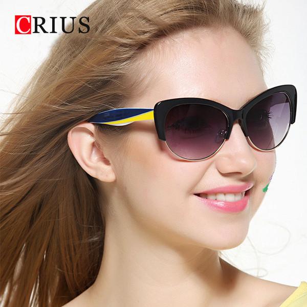 H CRIUS Yeni moda vintage güneş gözlüğü kadın klasik kedi gözler sunglass Yüksek kalite kelebek yarım çerçeve gözlük Anti-UV 400