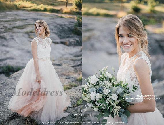 Beach Wedding Dresses A Line Tulle Lace Appliques Sheer Neck Tiered Beautiful Romantic Bohemian Wedding Gowns Rose Pink White Floor Length
