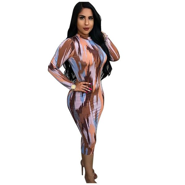 New Arrival 2019 Digital Printing Long Sleeves Women Party Dresses High Neck Open Back Mid Calf Sexy Night Out Club Dresses Real Image