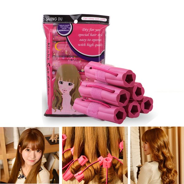 best selling 6pcs lot Magic Foam Sponge Hair Curler DIY Wavy Travel Home Use Soft Hair STyling Curler Rollers
