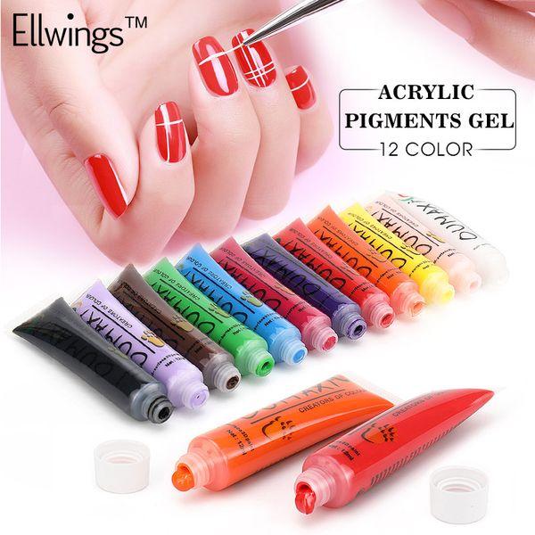 Ellwings 12Pcs Acrylic Varnish Painting Gel Tube Pigment Nail Gel Pen Nail Art Set UV Polish