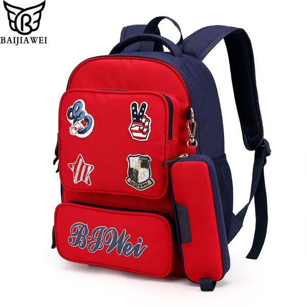 BAIJIAWEI 2017 New Children School Bags For Girls Boys Children Backpack In Primary School Backpacks Mochila Infantil Zip