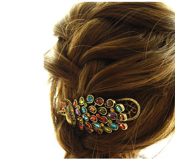 Women's Beauty Vintage Colorful Crystal Rhinestone Peacock Hair Pin Hair Clip 500pcs Free Shipping