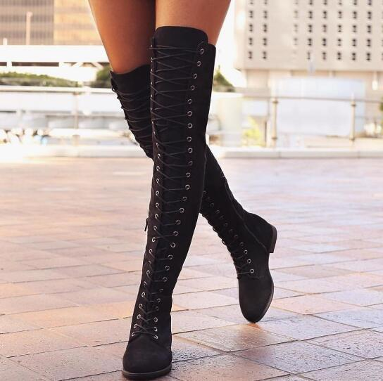Womens boots lace over knee flat boots womens large size code 42 yards 43 yards ladies boots