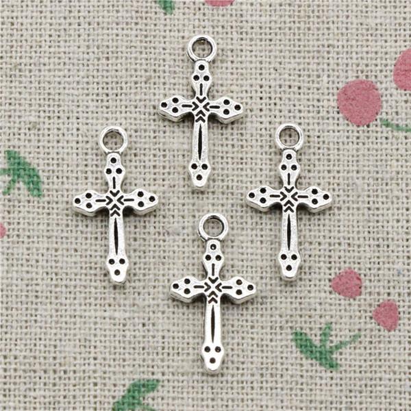 170pcs Charms christliches Kreuz 15 * 7mm Antik Silber Anhänger Zinklegierung Schmuck DIY Handwerk Halskette Armband Zubehör