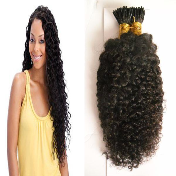 Afro kinky human hair nail i tip hair exten ion 100g trand pre bonded hair on keratin cap ule natural color 1g trand