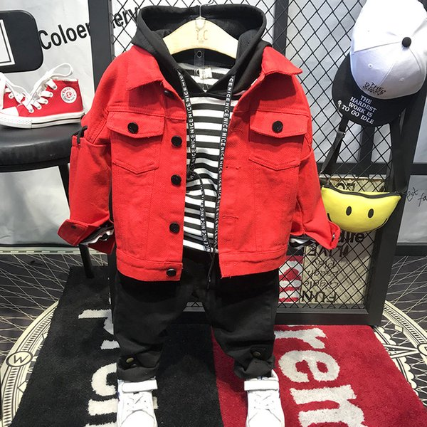 Boy's Long Sleeve Turn-down Collar Red Jeans Coats Cool Design Spring and Autumn Jeans Coats