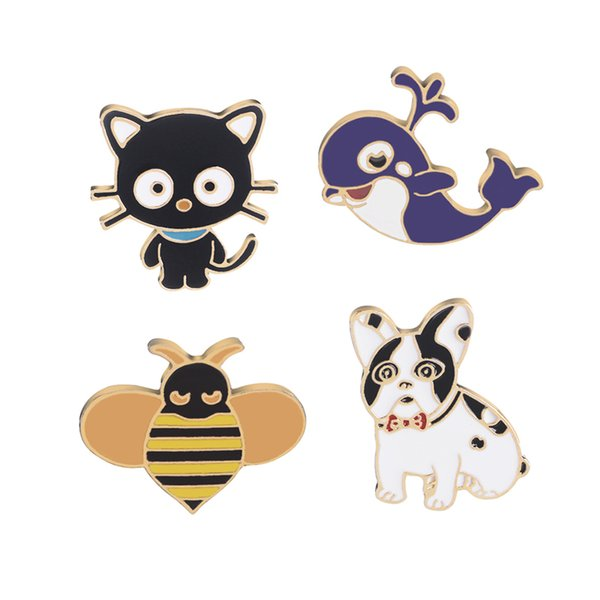 cute cartoon black cat Whale bee enemal animal pin brooches metal pet pins Badge button Denim Jackets pin jeans jewelry accessory