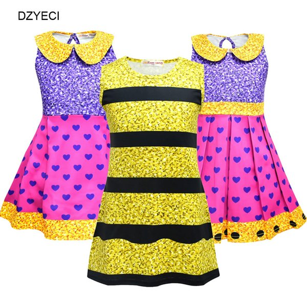 Halloween Cosplay Costume For Baby Girl Dress Lol Doll Kid Striped Heart Party Princess Frock Children Boutique Disguise Up Dresses