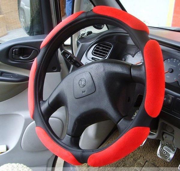 Microsuede Sport Anti-Strain Soft Suede Grip Auto Volante Coprivolante 15 ''
