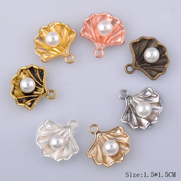 20 pcs 15 * 15 MM DIY liga antiga acessórios de jóias shell pérola encantos pingente de ouro rosa de prata nautical jewelry making dangle