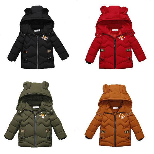 Erkek bebek kız Kalınlaşma Snowsuit Dış Giyim Ayı Kulak Taç Aşk Baskı Kat Aşağı Çocuklar Kış Giysileri Butik Fermuar Kapşonlu Ceket C5405