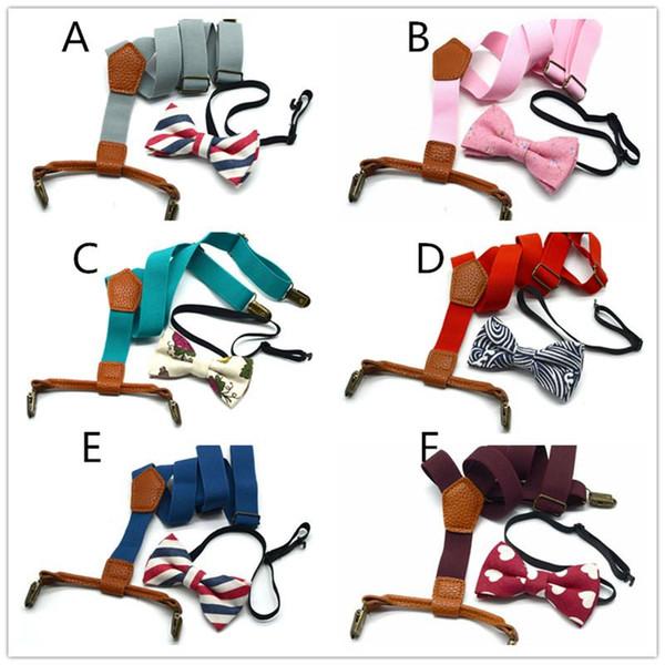 6 farben Kinder Elastische Y-back Hosenträger 2 stück set einfarbig hosenträger gürtel + muster fliege für 1-10 T Jungen Mädchen kostüm zubehör